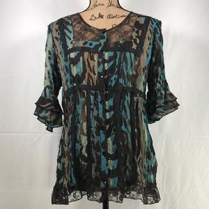 Signature by Larry Levin ruffled blouse size m